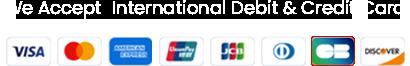 We accept internaional debit & credit card